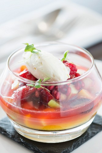 Mixed fruit berry and cream dessert from a fine dining restaurant