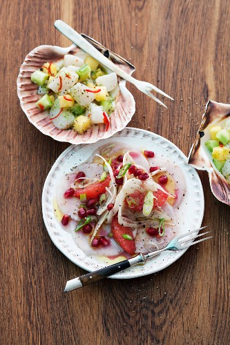 Scallop ceviche and swordfish carpaccio