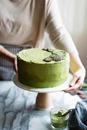Chocolate Zucchini Layer Cake with Matcha Cream Cheese Frosting. Gluten free.