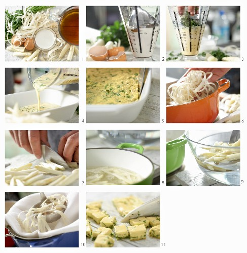 How to make clear asparagus soup with egg pieces