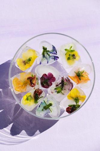 Homemade flower petal ice cubes