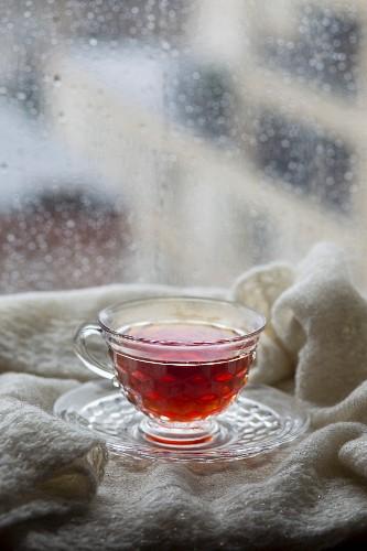 Tea in a rainy window