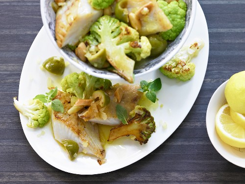 Pollock fillet with fried romanesco and olives