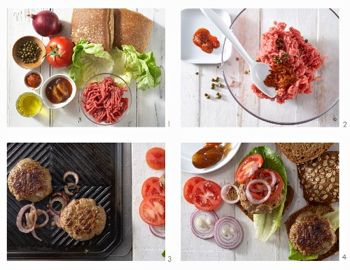 How to make burgers with onions, chilli paste and mango chutney