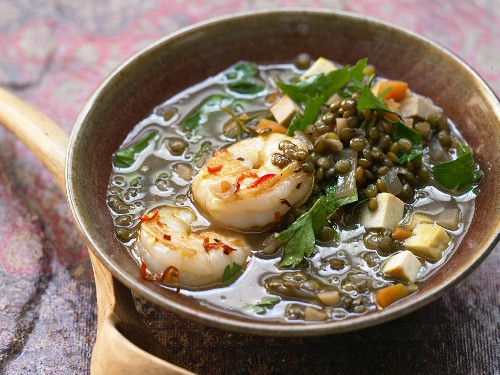 A lentil dish with chilli shrimps and tofu