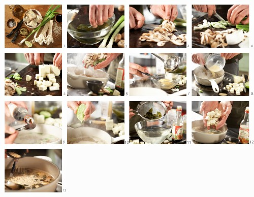 How to make miso soup with wakame algae, tofu and mushrooms (Asia)