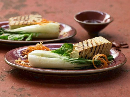 Grilled marinated tofu with steamed baby pak choi