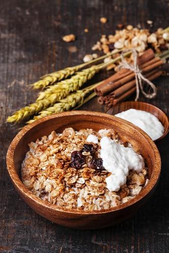 Muesli granola with raisin and yogourt in wooden bowl