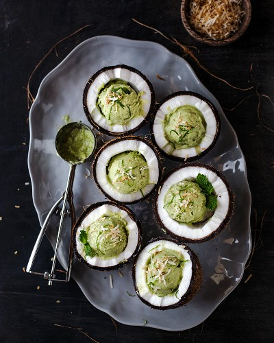Coconut and Avocado Ice Cream served in freshly cracked coconut bowls