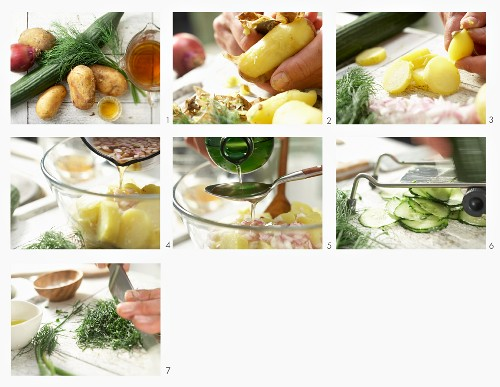 How to make a potato salad with cucumber and dill