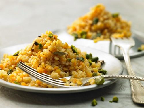 Bulgur wheat with lentils, oriental spices and pistachios
