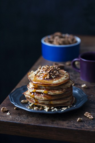Brown butter pancakes with walnuts and maple syrup