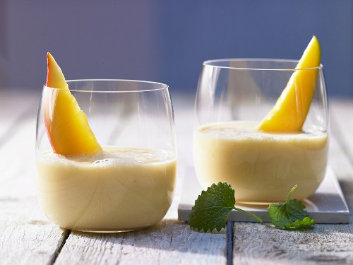 A mango and banana drink with orange juice and yoghurt