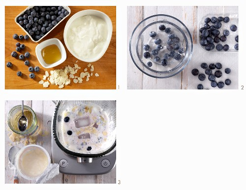 How to make sour milk with honey, almond flakes and fresh blueberries