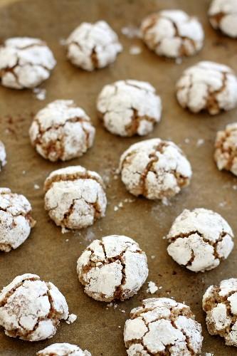 Amaretti cookies on brown baking paper