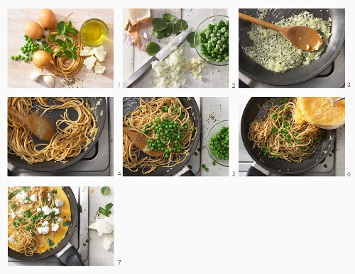 How to make a noodle frittata with peas and sheep's cheese