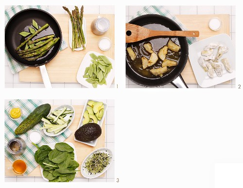 How to make an asparagus and spinach salad with sprouts and fried artichokes