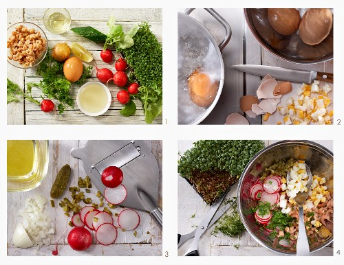 How to make a crab salad with radish, egg and cress