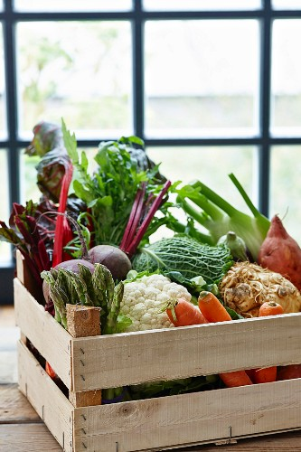 A vegetable crate in front of a window