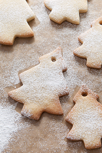 full frame image of Christmas tree shaped tree decoration biscuits on brown greaseproof paper and sprinkled with icing sugar