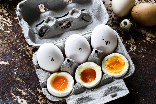 Boiled eggs: 4, 7, and 10 minutes