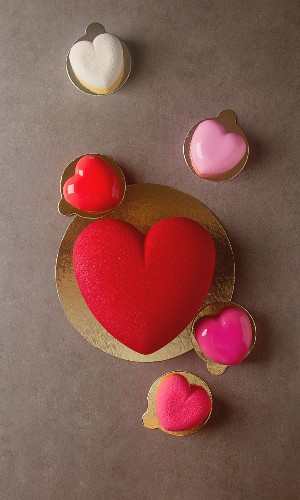 A romantic heart-shaped mousse cake for Valentine's Day