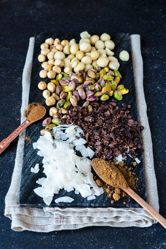 Ingredients for dukkah (a nut and spice mix) with chocolate