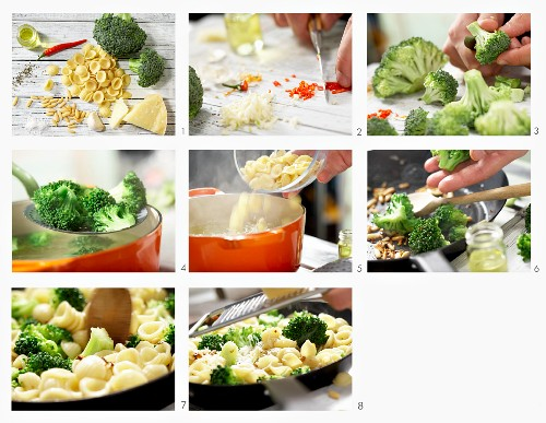 Orecchiette with broccoli, chilli and pine nuts being made