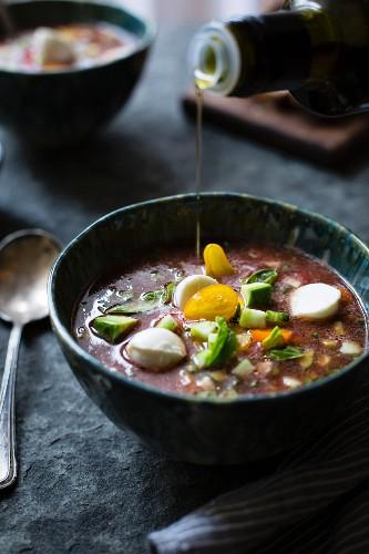Caprese Gazpacho chilled soup