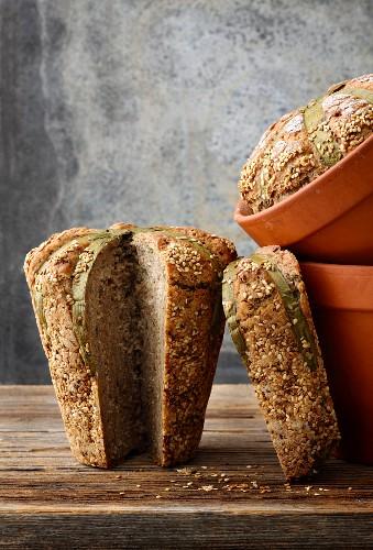Leek bread out of a flower pot