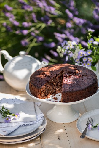 Zucchini and chocolate cake, sliced, on a garden table