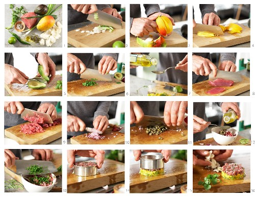 How to make tuna tartare with coriander and a mango salad