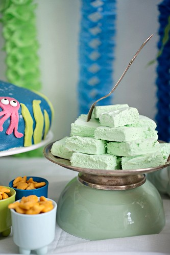 Green marshmallows for a maritime themed party