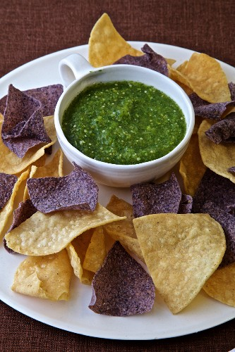 Tortilla Corn Chips Purple and Yellow with Tomatillo Salsa