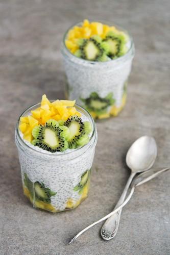 Chia Greek Yogurt Pudding with Kiwi and Mango
