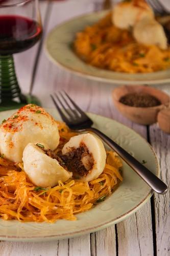 Mutton dumplings with sauerkraut