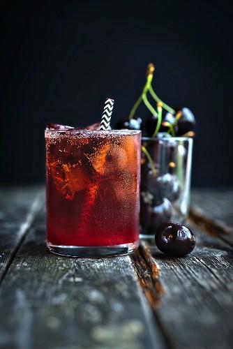 Black Cherry Bourbon Smash Cocktail