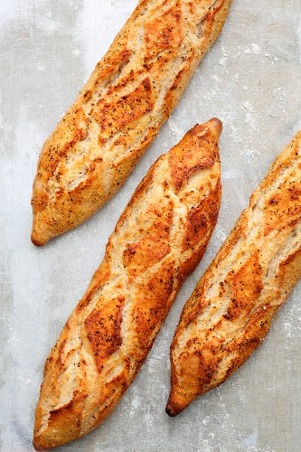 Rustic-style baguette with chilli