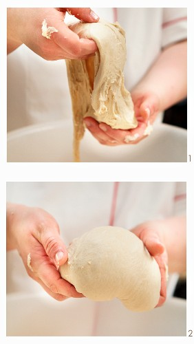 The making of farmhouse bread that is lightly brushed with water before baking