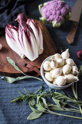 White onions, radicchio and purple cauliflower