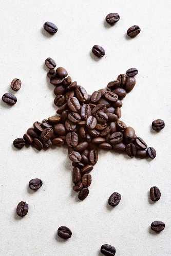 Coffee beans in a star shape