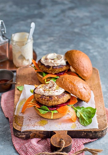 Lentil Burgers with Tahini Sauce