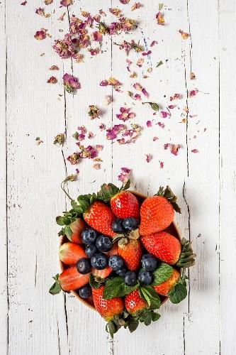 Frische Erdbeeren und Heidelbeeren in Schüssel