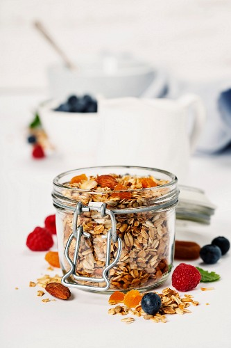 Homemade granola (with dried fruit and nuts) and healthy breakfast ingredients - honey, milk and berries