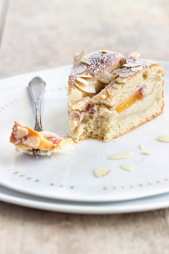 A piece of nectarine cake made from quark oil dough and filled with vanilla pudding