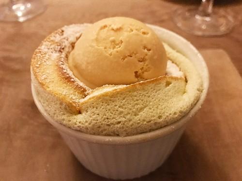 Bramley Souffle with salted caramel ice cream