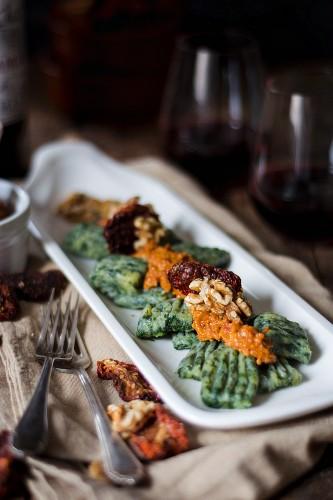 Spinach gnocchi with walnut pesto