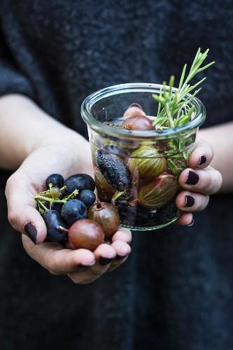 Stachelbeerwasser mit Trauben und Rosmarin