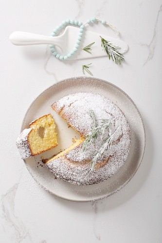 'Vasilopita' (Greek New Year cake with a coin hidden inside it), with a slice cut out