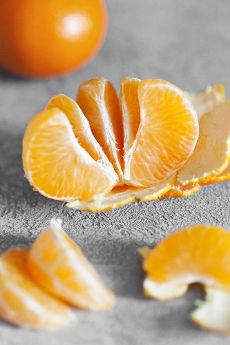 Tangerine segments in a bowl